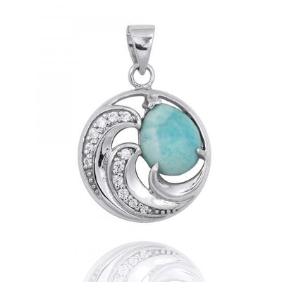 Pendant-Sterling Silver Waves Pendant Necklace with Larimar and White CZ-Coastal Passion