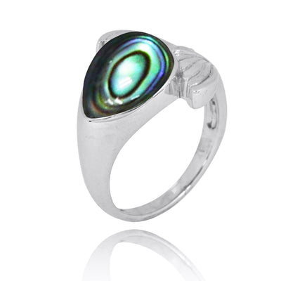 Ring-Sterling Silver Whale Tail Ring with Abalone Shell and White CZ-Coastal Passion