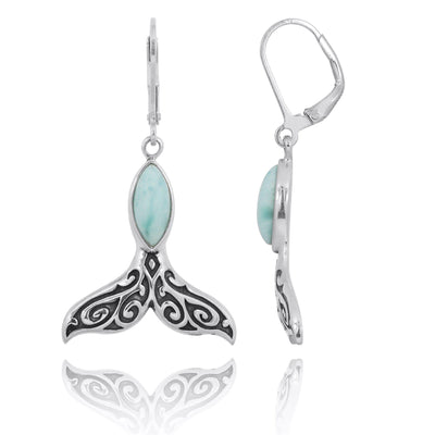 Earrings-Sterling Silver Whale Tail with Larimar Lever Back Earrings-Coastal Passion