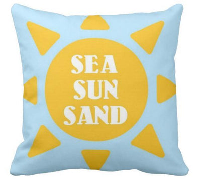 "Summer Collection-Pillow Cover-17"" X 17""-Sea Sun Sand-Standard: Linen-Polyester-Coastal Passion"