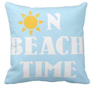 "Summer Collection-Pillow Cover-17"" X 17""-On Beach Time-Standard: Linen-Polyester-Coastal Passion"