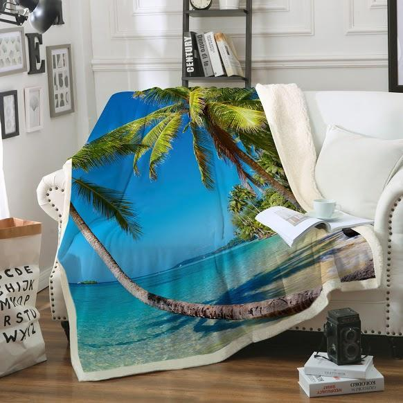 Summer in Saint Thomas Soft Sherpa Blanket-Blanket-Coastal Passion