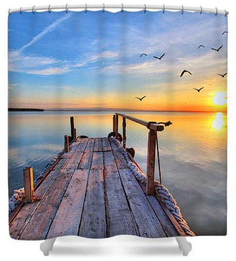 "Sunset At The Jetty Shower Curtain-Shower Curtain-59"" L. x 70"" H.-Coastal Passion"