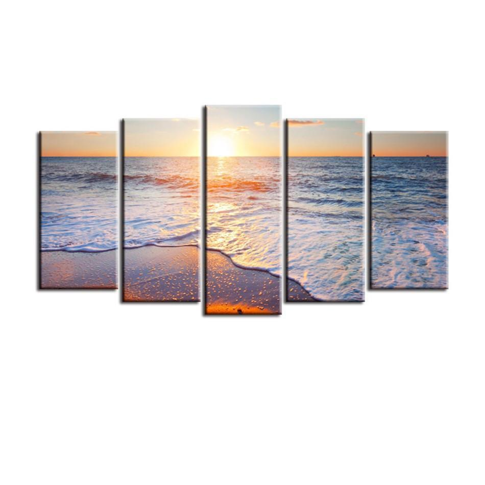 Sunset on the Beach Gallery Wrap Canvas Print-Small-Polyester Canvas-Coastal Passion