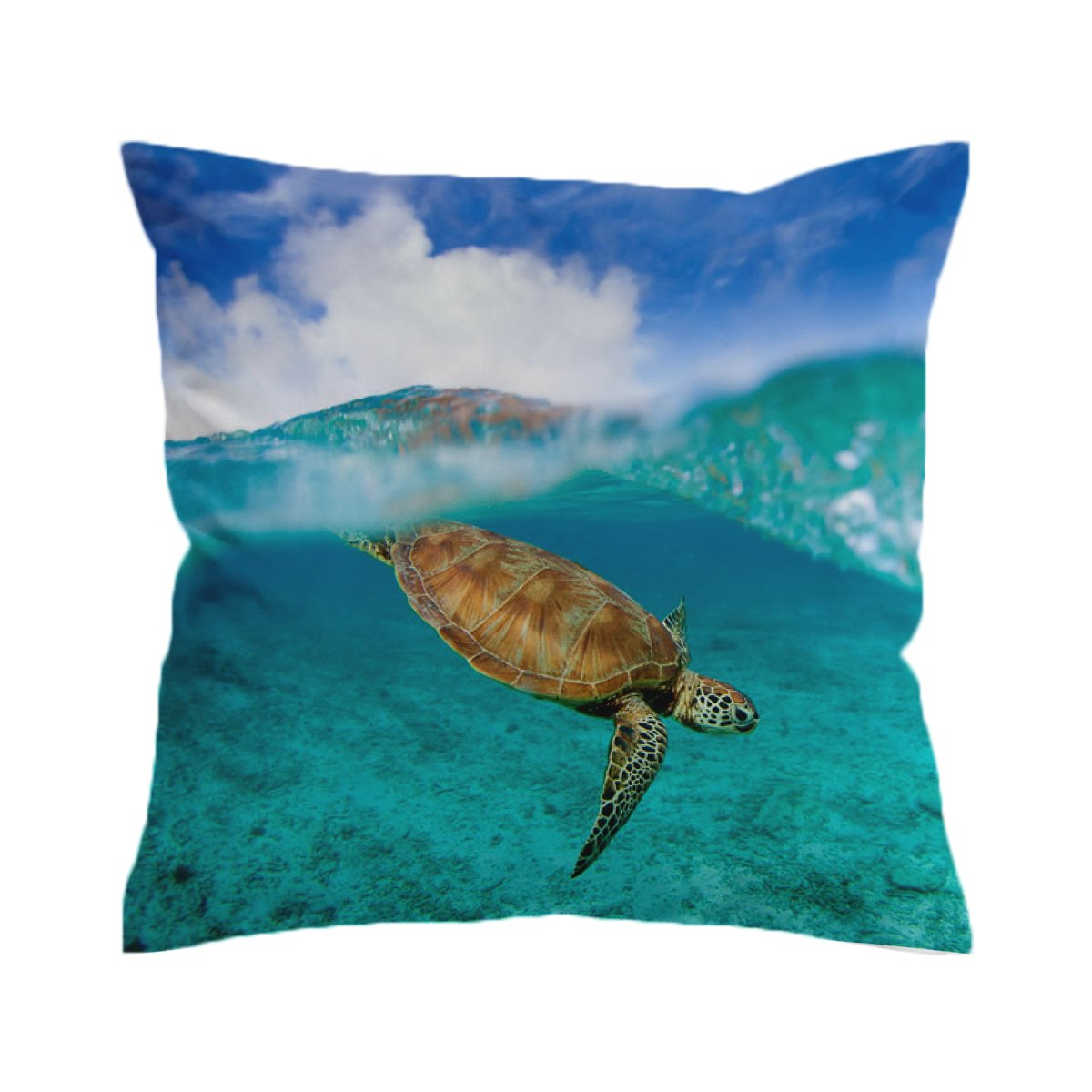 Surf Turtle Pillow Cover-Coastal Passion