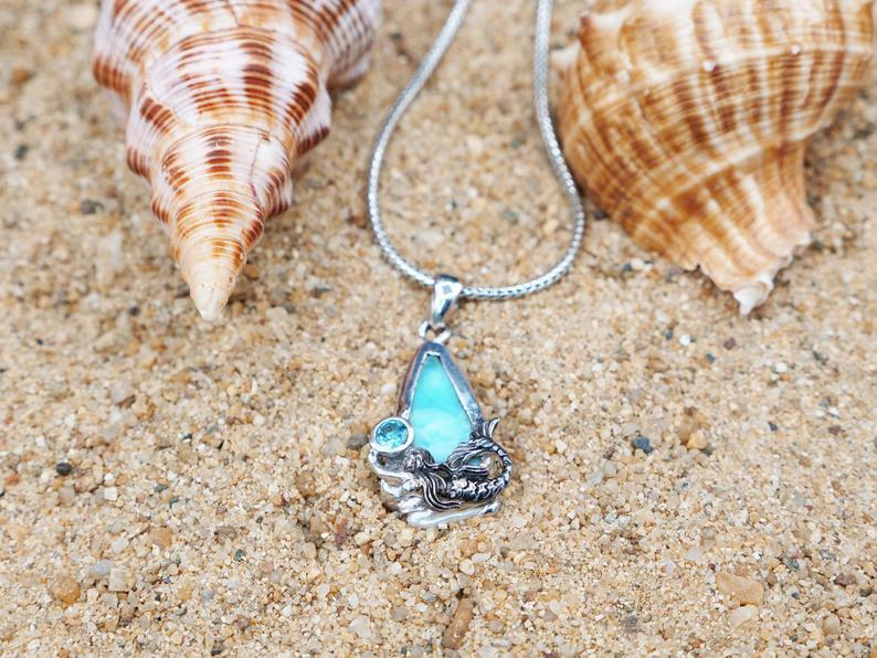 -Swimming Mermaid Beach Pendant with Larimar, Blue Topaz and Pearl - Only One Piece Created-Coastal Passion
