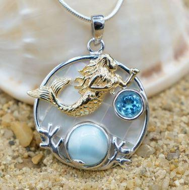 One of a Kind Necklace-Swimming Mermaid Pendant Necklace with Larimar, Blue Topaz and Mother of Pearl Mosaic-Coastal Passion
