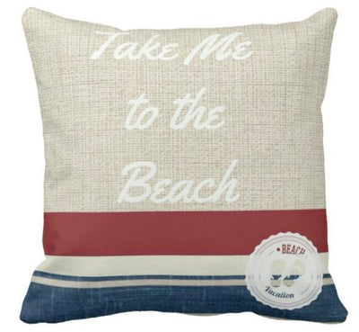 "Take Me to the Beach Pillow Cover-Pillow Cover-17"" x 17""-Life is Better in Flip Flops-Standard: Linen Blend-Coastal Passion"