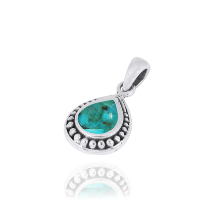 Pendant-Teardrop Shaped Oxidized Silver Pendant with Compressed Turquoise-Coastal Passion