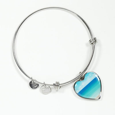 The Beach In My Heart Bracelet-Bangle Bracelet-Luxury Bangle (Silver)-Coastal Passion