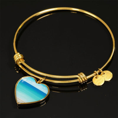 The Beach In My Heart Bracelet-Bangle Bracelet-Luxury Bangle (Gold)-Coastal Passion