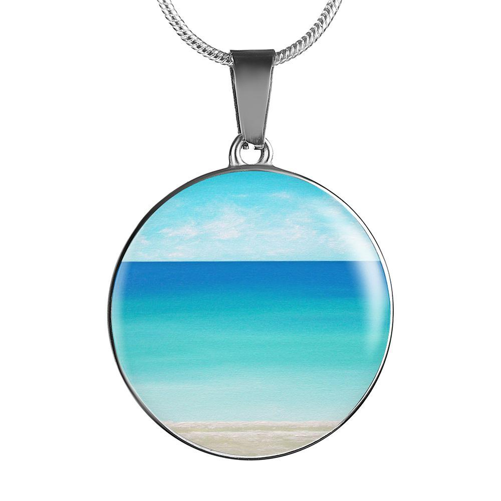 The Beach In My Heart Round Pendant Necklace-Jewelry-Luxury Necklace (Silver)-Coastal Passion