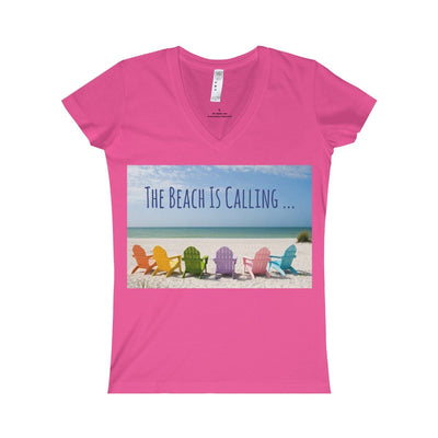 The Beach Is Calling V-Neck Tee-V-neck-Hot Pink-S-Coastal Passion