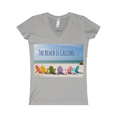 The Beach Is Calling V-Neck Tee-V-neck-Heather-S-Coastal Passion