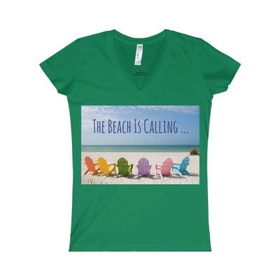 The Beach Is Calling V-Neck Tee-V-neck-Kelly-S-Coastal Passion