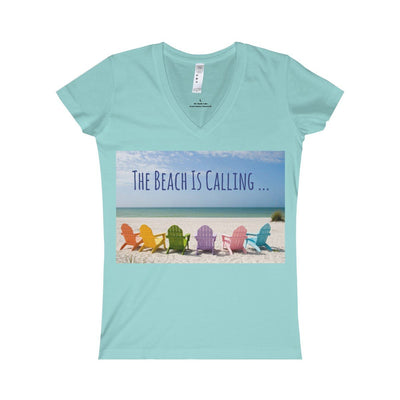 The Beach Is Calling V-Neck Tee-V-neck-Chill-S-Coastal Passion