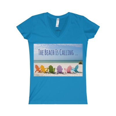 The Beach Is Calling V-Neck Tee-V-neck-Cobalt-S-Coastal Passion