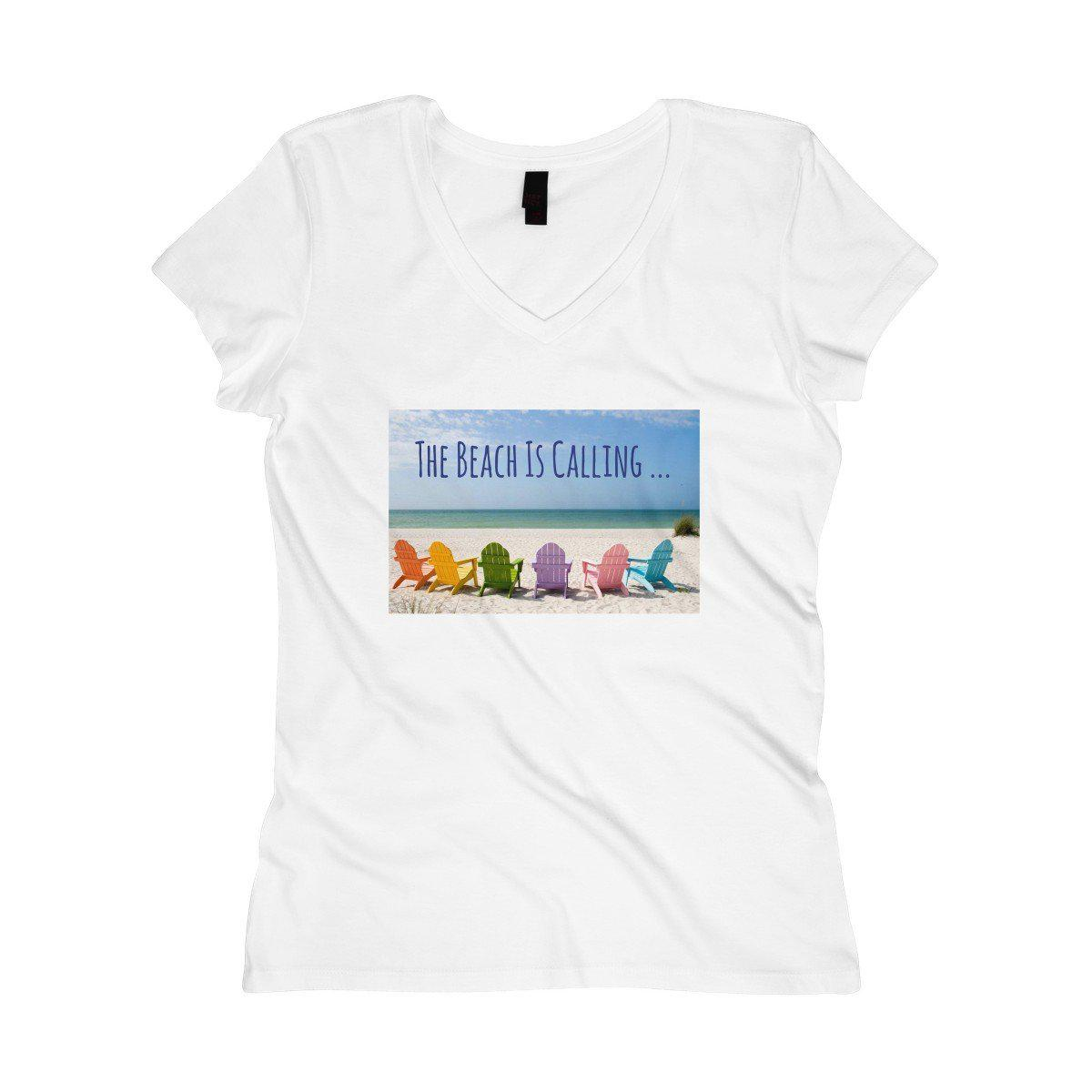 The Beach Is Calling V-Neck Tee-V-neck-White-XS-Coastal Passion