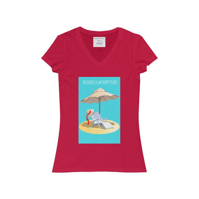 THE BEACH IS MY HAPPY PLACE V-Neck Tee-V-neck-Red-S-Coastal Passion