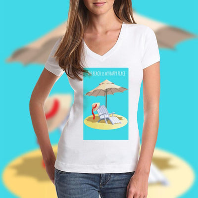 THE BEACH IS MY HAPPY PLACE V-Neck Tee-V-neck-Coastal Passion