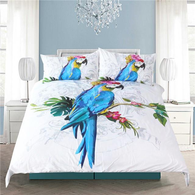 The Blue Macaw Bedding Set-Twin-Coastal Passion