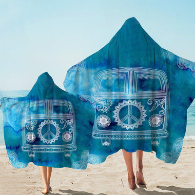 Hooded Beach Towel-The Cool Bus Hooded Towel-Coastal Passion