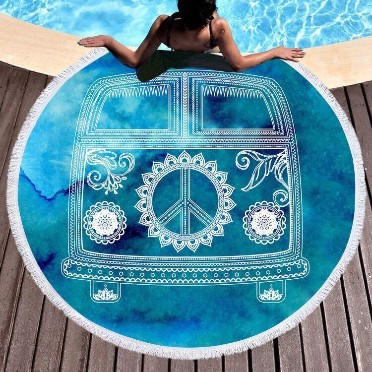 The Cool Bus Round Beach Towel