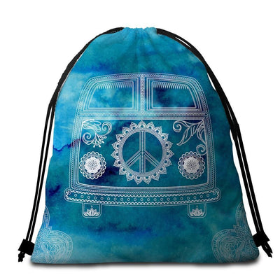 Round Beach Towel-The Cool Bus Towel + Backpack-Coastal Passion