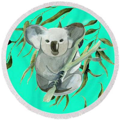 The Cuddly Koala Round Beach Towel-Round Beach Towel-Coastal Passion