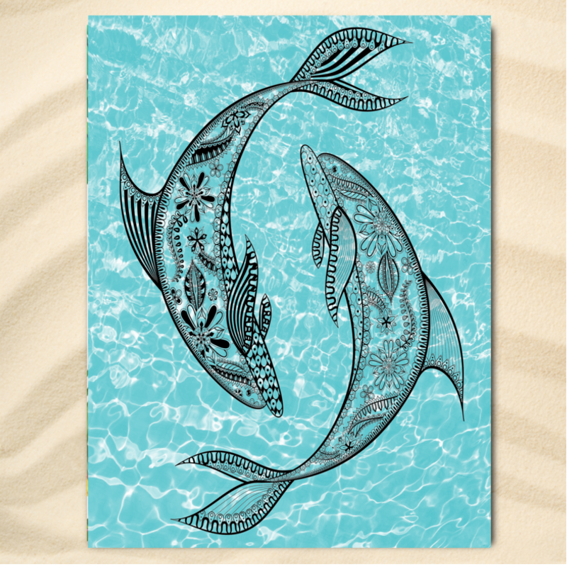 Beach Towel-The Dolphin Twist Extra Large Towel-Coastal Passion