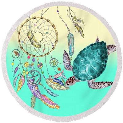 The Dream Catcher And Sea Turtle Round Beach Towel-Round Beach Towel-Coastal Passion