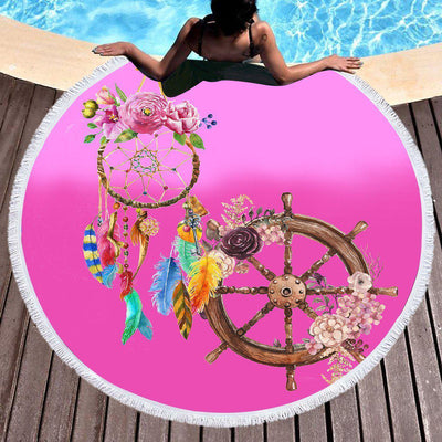 The Dreamcatcher and Helm Fun Beach Towel-Round Beach Towel-Coastal Passion