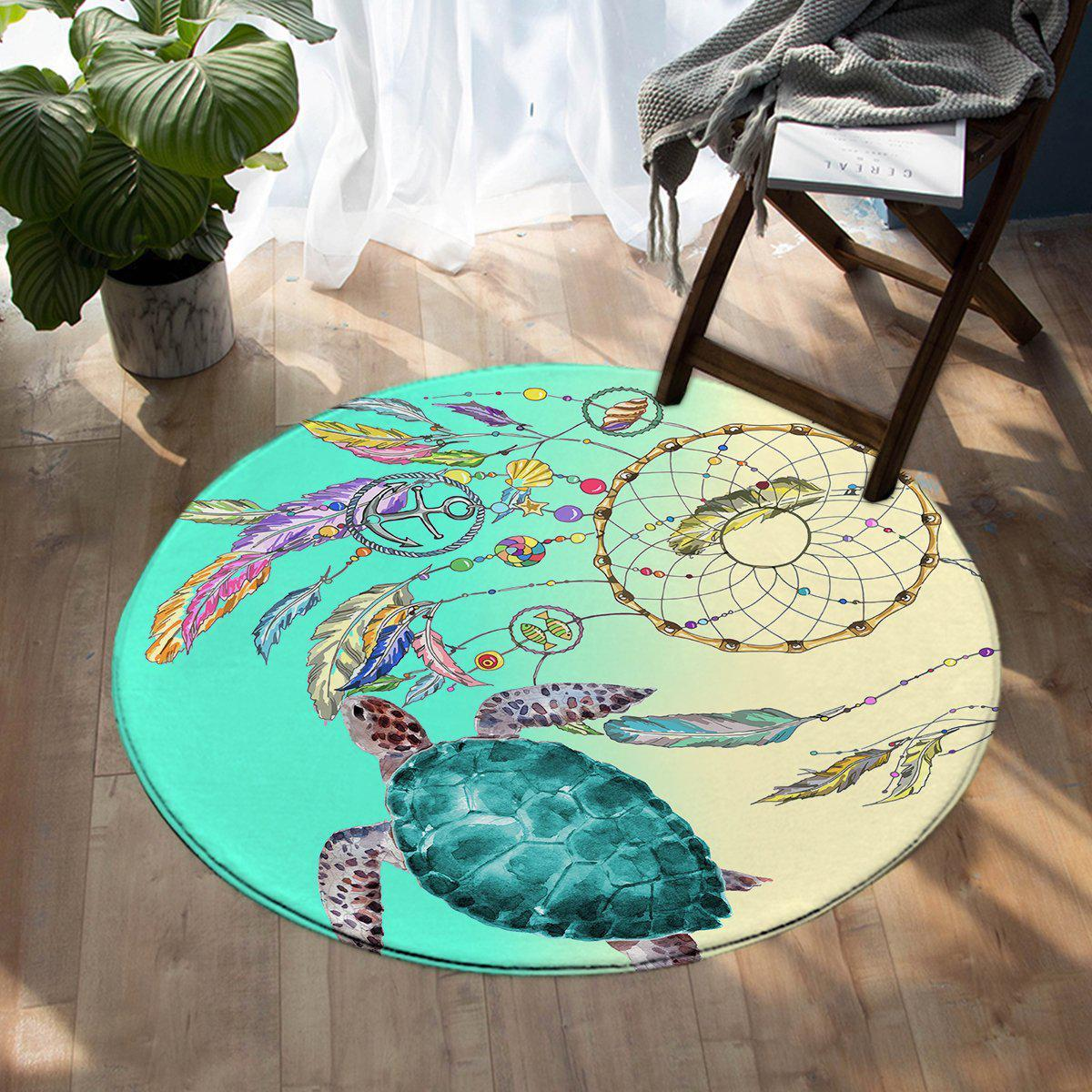 -The Dreamcatcher and Sea Turtle Round Area Rug-Coastal Passion