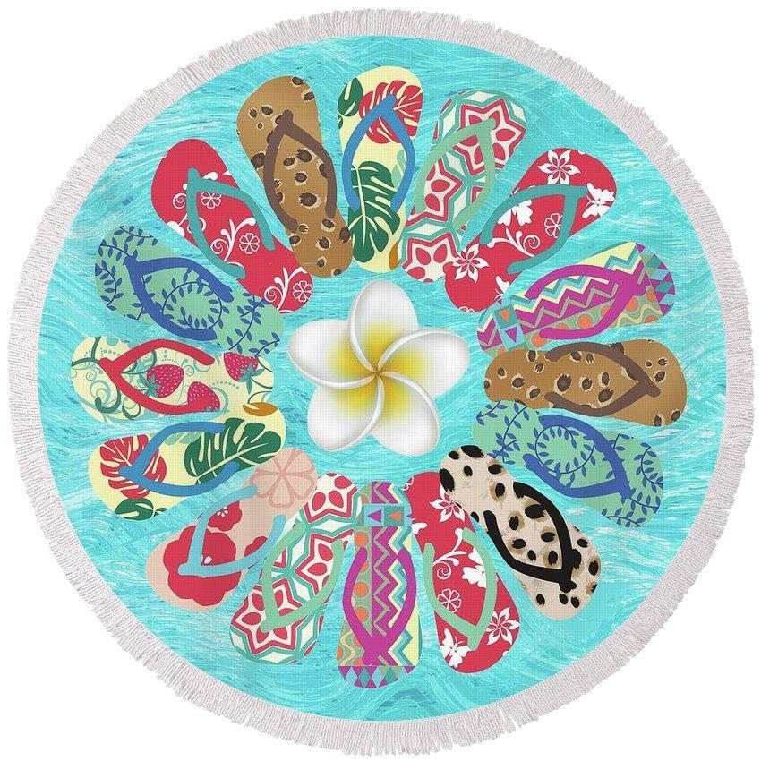 The Flip Flop Flower Round Beach Towel-Round Beach Towel-Coastal Passion