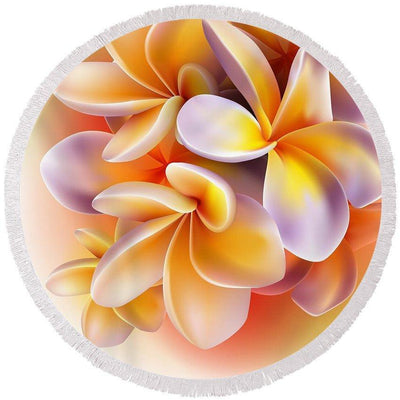 The Frangipani Round Beach Towel-Round Beach Towel-Coastal Passion