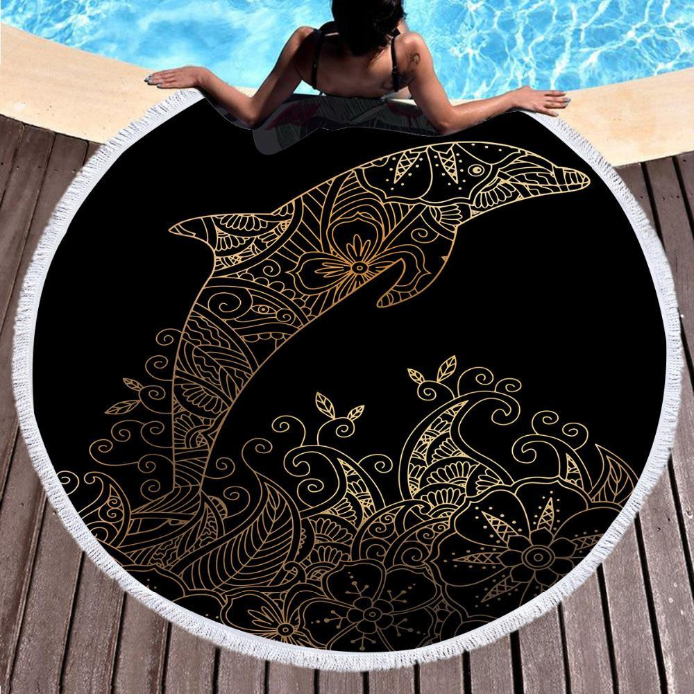 The Golden Dolphin Round Beach Towel-Round Beach Towel-Coastal Passion