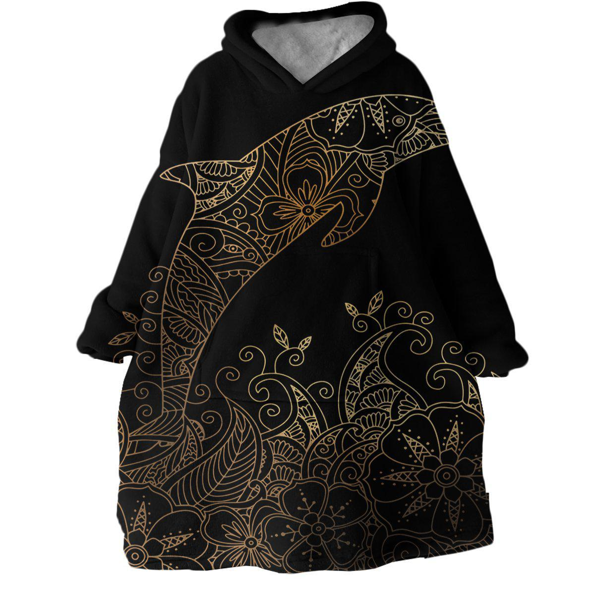 The Golden Dolphin Wearable Blanket Hoodie-Coastal Passion
