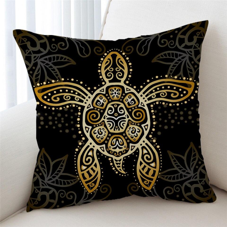 The Golden Sea Turtle Pillow Cover-Coastal Passion
