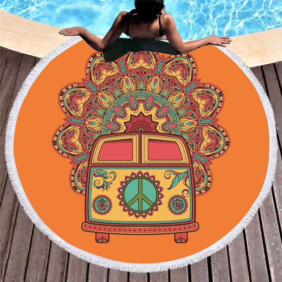 The Happy Bus Round Beach Towel