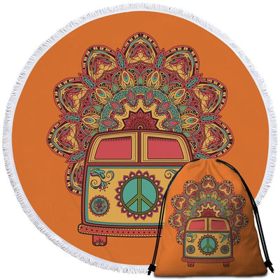 Round Beach Towel-The Happy Kombi Towel + Backpack-Coastal Passion