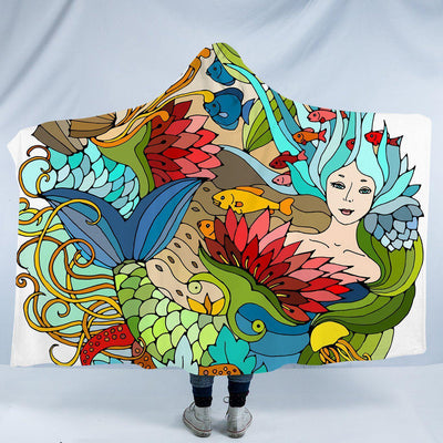 "The Happy Mermaid Cozy Hooded Blanket-Fleece Hooded Blanket-Adults: Size 80"" x 60""-Coastal Passion"