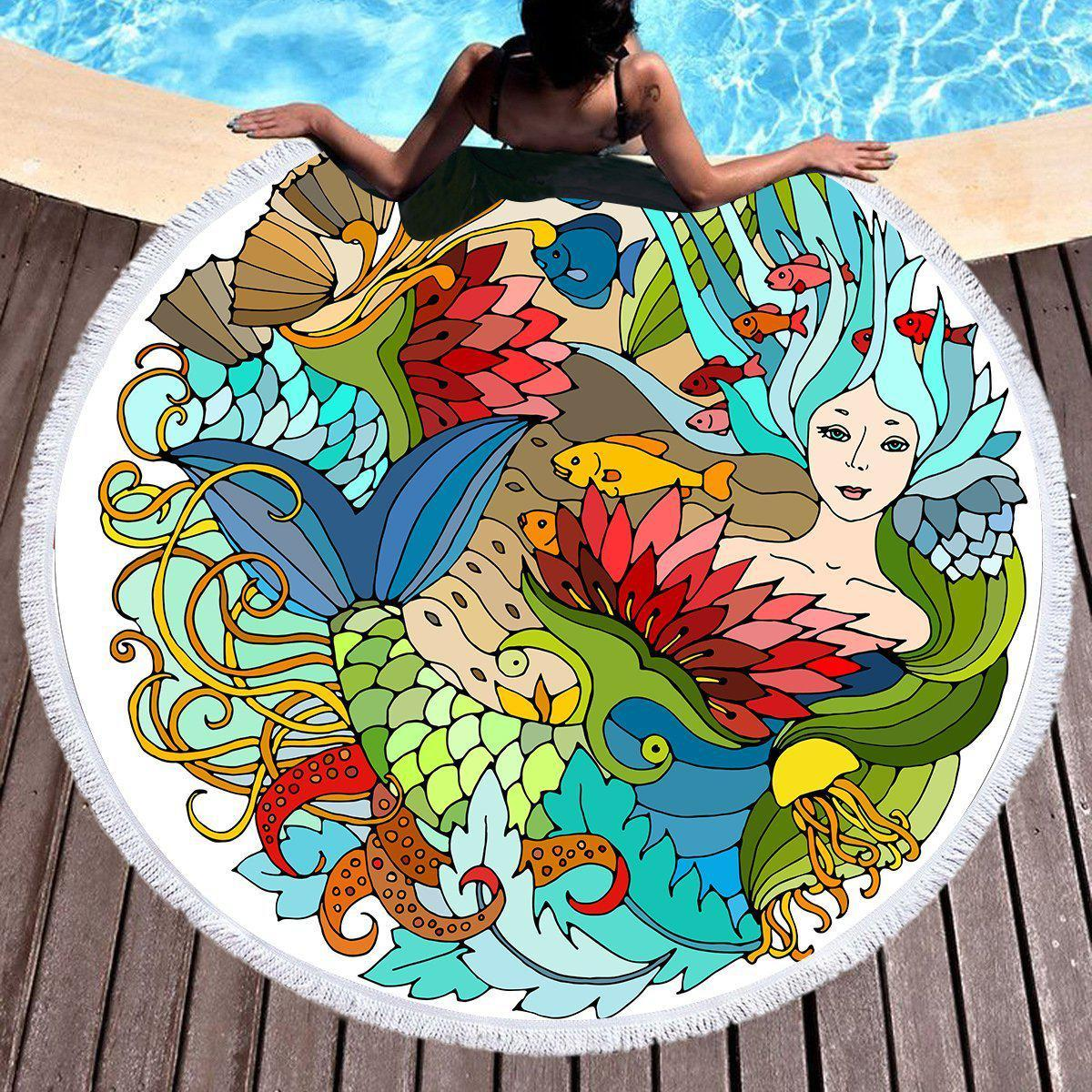 The Happy Mermaid Round Beach Towel