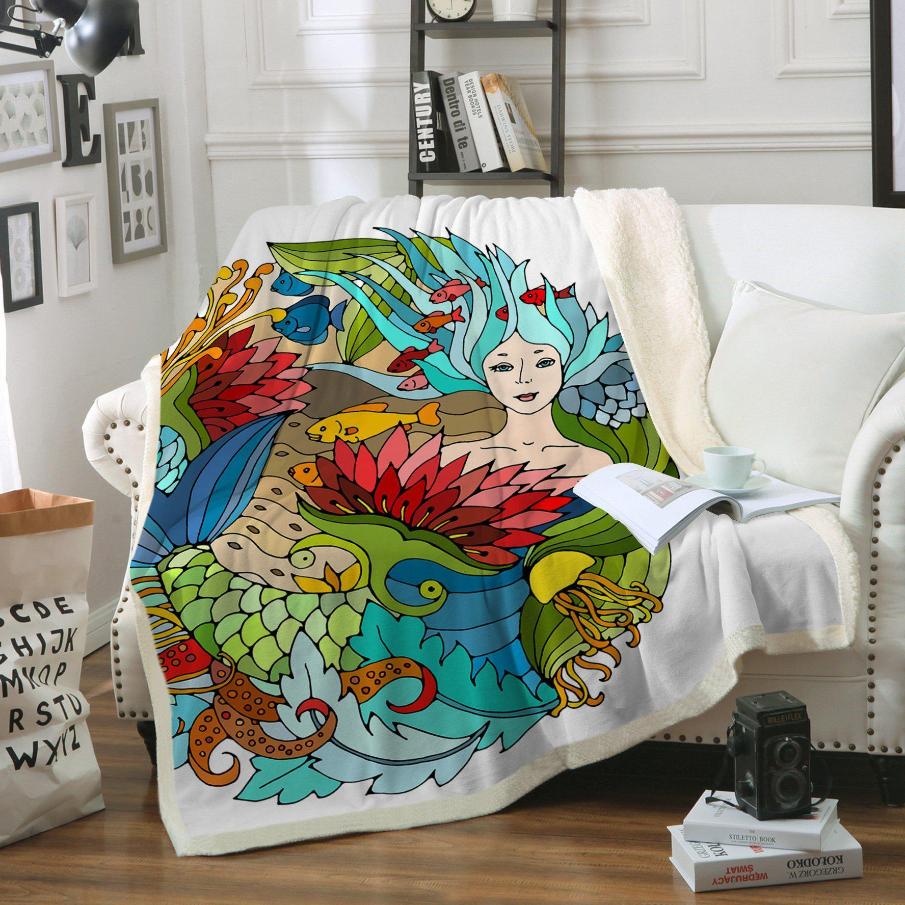 The Happy Mermaid Soft Sherpa Blanket
