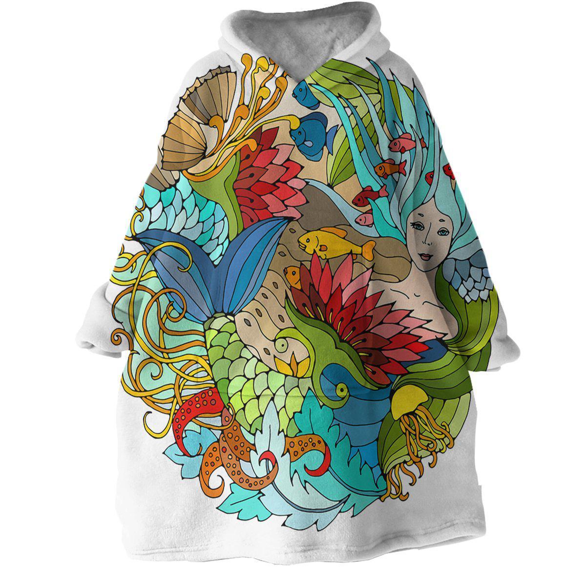 The Happy Mermaid Wearable Blanket Hoodie-Coastal Passion