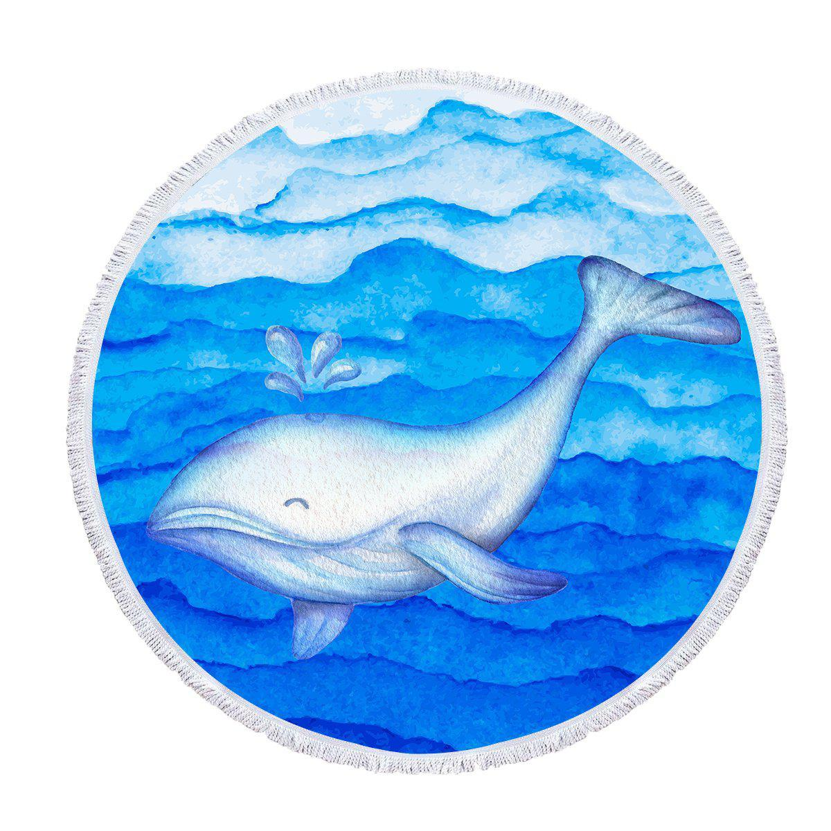 "Round Beach Towel-The Happy Whale - Baby Size 40""-Coastal Passion"
