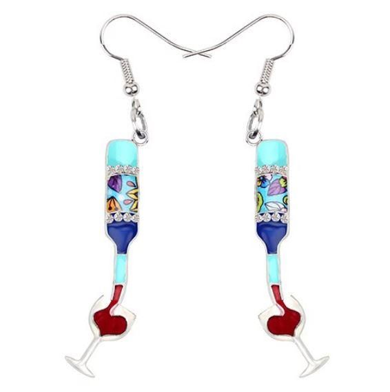 The Ocean and I and a Glass of Wine - Enamel Pendant Earrings-Coastal Passion