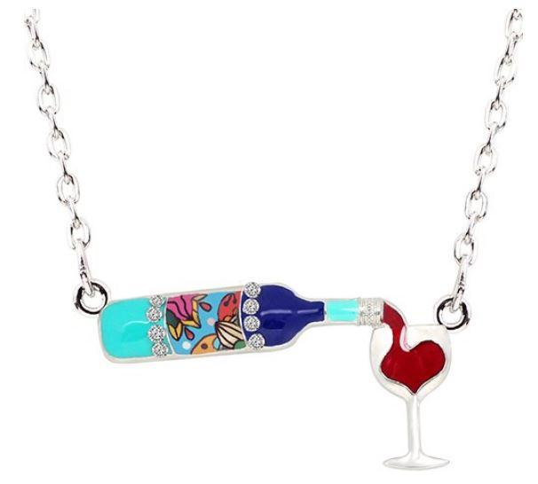 The Ocean and I and a Glass of Wine - Enamel Pendant Necklace-Coastal Passion