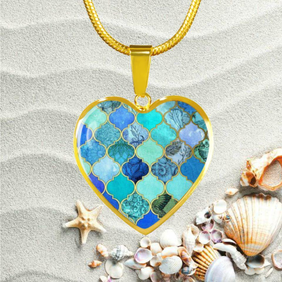 The Ocean's Heart Golden Necklace-Jewelry-Coastal Passion