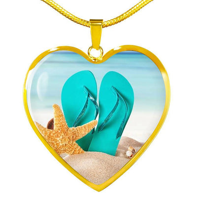 The Original Flip Flops On The Beach Necklace-Jewelry-14k Gold Finish Luxury Necklace-Coastal Passion