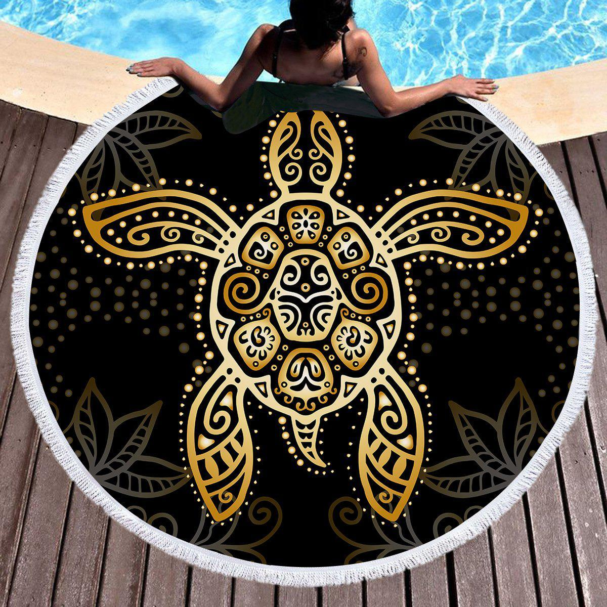 The Original Golden Turtle Round Beach Towel